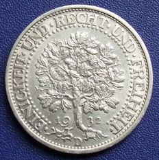 Germany / Weimar Republic - 5 mark 1932 D oak tree - silver