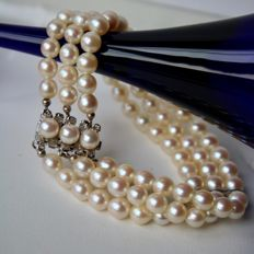 """3-strand bracelet from the """"Schoeffel"""" brand, with 81 genuine Japanese Akoya pearls with marvellous lustre, approx. 5.8 mm"""