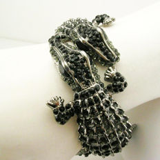 "Signed KENNETH JAY LANE - Spectacular double Alligator clamper bracelet with black Austrian crystals ""Couture Collection"""
