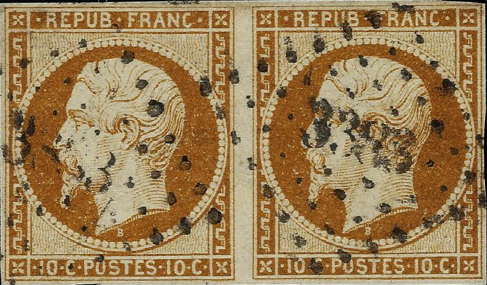France 1862 - Presidency, 10 centimes dark bistre in a pair cancelled with small numerals signed certificate Scheller - Maury 9b