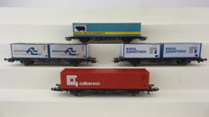 Röwa H0 - o.a. 2301/2321/2331 - 4 pieces 2-axle container wagons Type Lbs 598 of the DB