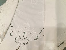 Italian manufacture. Pure cotton tablecloth with embroidery and inlays. Handmade.