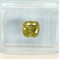 Diamond - 1.53 ct, VS2 – Natural Fancy Dark Yellowish Green