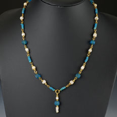 Necklace with Roman glass, shell and melon beads - 53 cm
