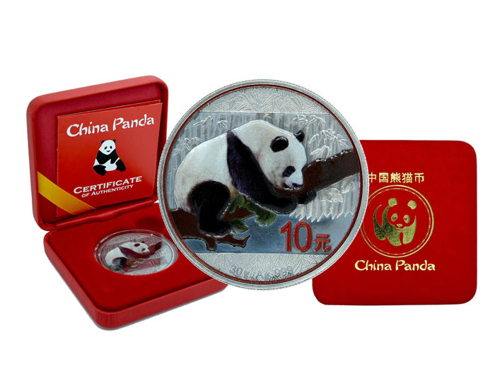 China - 10 yuan - China panda 2016 - 999 silver coin - antique finish - colour - edition of only 250 pieces