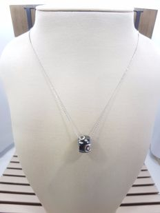 Damiani 18ct White Gold Black Ceramic & Diamond Pendant with Necklace, Necklace Length 46cm & Pendant Length 1cm