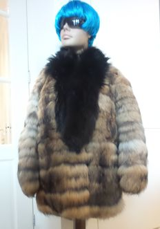 Rot Front - New raccoon fur coat with collar