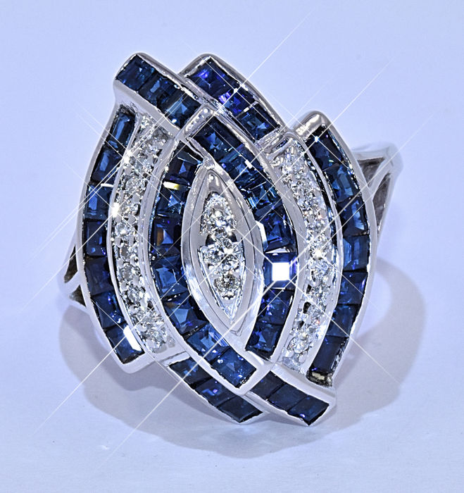 3.31 Ct Sapphires with Diamonds, marquise ring NO reserve price!