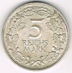 Weimar Republic - 5 Mark 1925 F 1000th Year of the Rhineland - silver