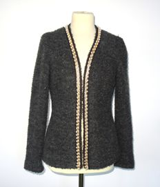 Michael Kors, stunning short jacket, grey bouclé, trimmed with faux pearls