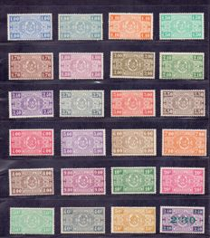"Belgium 1923/1931 - 2 complete issues ""National coat of arms"" - OBP 135 through 167"