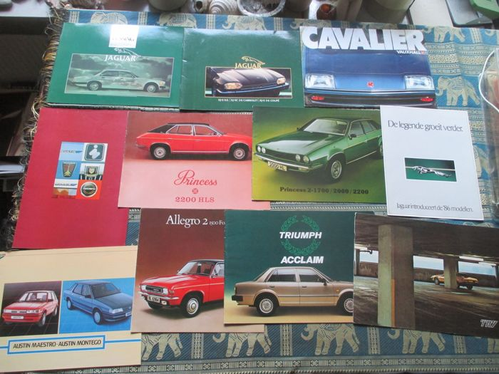 Car brochures (English brands, including XJ/XJS/Princess/TR7, 13x, 1977-1986)