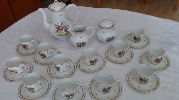 Mocha service by Limoges France, with Wateau painting for 12 persons - as good as new