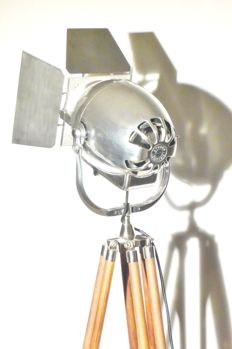 Strand Electric - Vintage Theatre Spot Light with Wooden Tripod