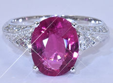 3.96 Ct Pink Tourmaline with Diamonds ring NO reserve price!