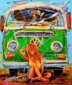 Mathias - Green VW bus and red girl