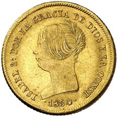 Spain - Isabel II. 100 gold reales. Seville. 1854. Scarce.