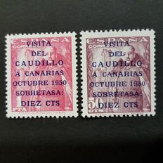 Spain, year 1951 - The Caudillo's visit to the Canary Islands - Edifil 1088-1089