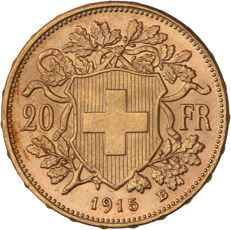 Suisse - 20 Francs 1915 'Vreneli' - or