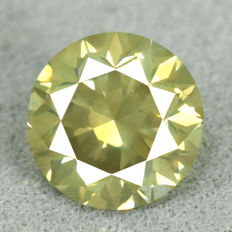 Diamond – 1.03 ct, Si1 – Natural Fancy Dark Greenish Yellow