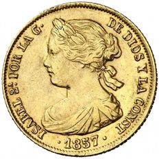Spain - Isabel II (1833-1868), 100 gold reales - Barcelona - 1857.