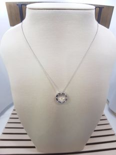 Damiani 18ct White Gold Circle of Life with Diamonds Pendant with Necklace, Necklace Length 46cm & Pendant Length 1.5cm