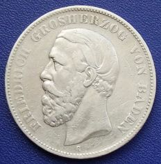Empire, Baden – 5 Mark - 1875 G – silver