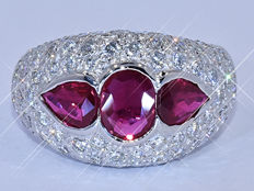 4.30 Ct Rubies and Diamonds, designer ring NO reserve price!