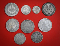 Germany - Lot of 9 coins 1807/1916 - silver
