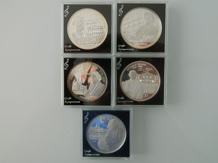 World - Lot various coins 2013/2014 'Great Composers' (5 different) - silver