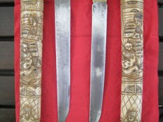 2 x Japanese bone tantos in scabbards