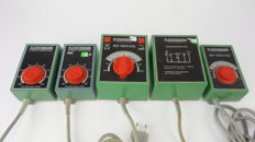 Fleischmann H0 - 6735/6730/6705/6755 - Five transformers including 1 lighting transformer for lights signals and points