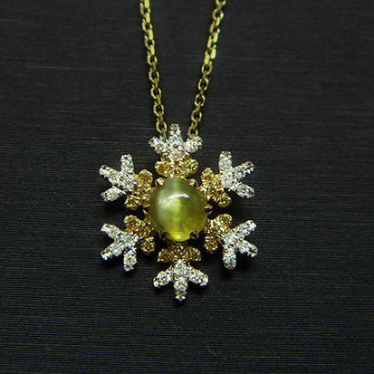 18K gold necklace with 0.5ct of chrysoberyl cat's eye and 0.134ct of diamond , necklace:40cm(16in)