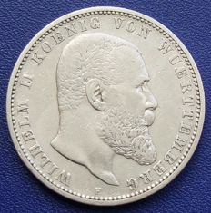 German Empire, Württemberg - 5 mark 1898 F - silver