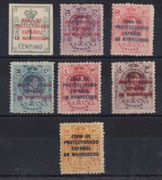 Morocco 1921/1927 - Authorised stamps of Spain - Edifil 74/80.