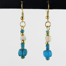 Earrings with Roman glass, shell and melon beads - 5 cm
