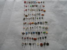 Collection 100 x car / motorcycle / tractor / petrol badges / pins -1950s and 1960s