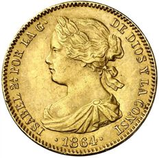 Spain - Isabel II (1833–1868) 100 reales gold - Madrid - 1864.