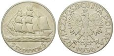 "Poland, 2nd Republic - 5 Zlotych 1936 ""Sailing ship"""