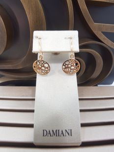 Damiani 18ct Rose Gold with Diamonds Earrings, Length 3.5cm, Width 1.5cm