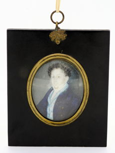 Antique Portrait of Man in Wooden and Glass Frame, Possibly French Circa.1890