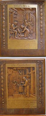"The Netherlands – two plaques  ""Barber surgeon"" and ""The Apothecary "" circa 1930 'J.C. Wienecke  (1872 – 1945) – bronze"