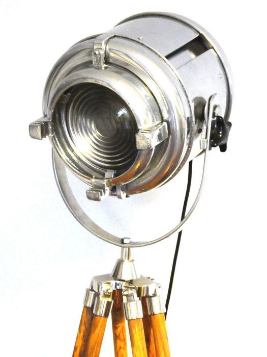 Furse - Vintage Theatre Spot Light with Wooden Tripod