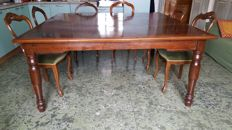 Antique large dining table in walnut and mahogany - Italy, Lazio region, late 19th century