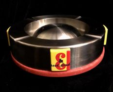 A , very rare , vintage , J B whisky advertising  , aluminum , large ashtray , with several logos J & B