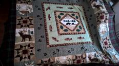 Luxurious Master Raphael boutis quilted bedspread decorated with handmade patchwork, NEW