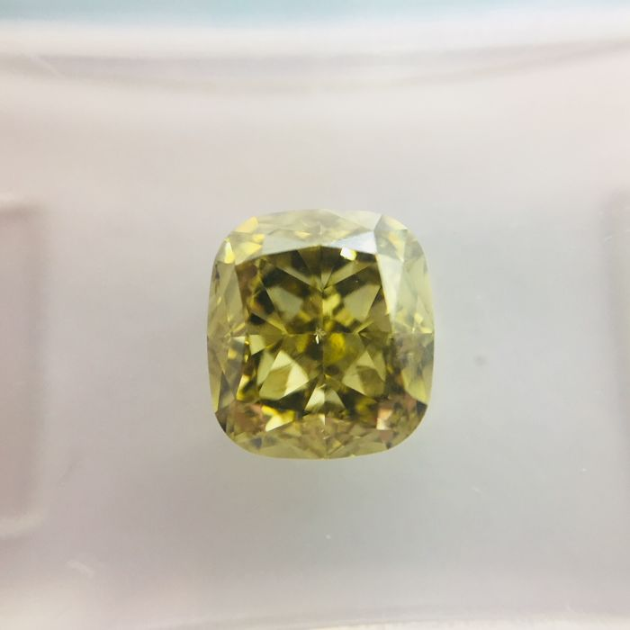 Natural Fancy brownish greenish yellow 2.03 ct. cushion cut Diamond, IGI