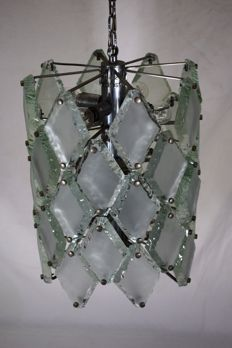 Fontana Arte (in style of) - pendant light in hammered glass with 12 lights