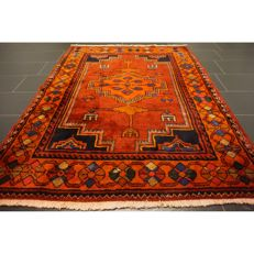 Old hand-knotted Persian carpet, Qashqai Gabbeh nomad work carpet wool on wool, made in Iran, 194 x 150 cm