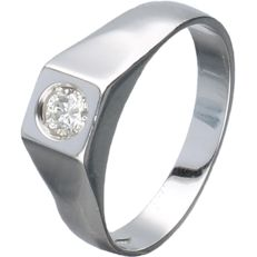 18 kt white gold men's ring set with a round brilliant cut diamond of approx. 0.25 ct – Ring size:  17.75 mm